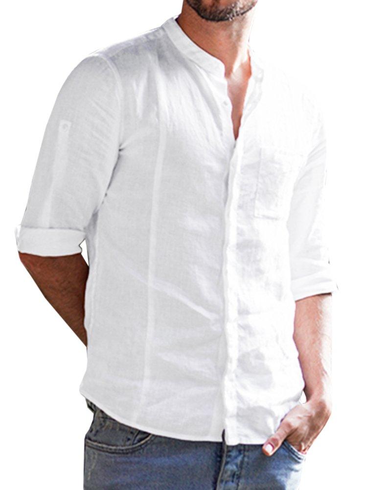 Enjoybuy Mens Long Sleeve Banded Collar Casual Linen Shirts Loose Fit Summer Beach Shirt