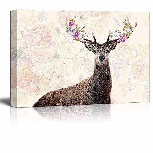 Deer with Flowers in Antlers with Floral Background
