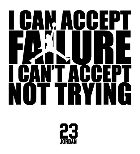 ls and Sports Quotes: Michael Jordan Famous Quotes Wall Decals - All Star Basketball Players Wall Decal Stickers - Premium Quality Leader Quotes Vinyl Wall Decals - RED ()