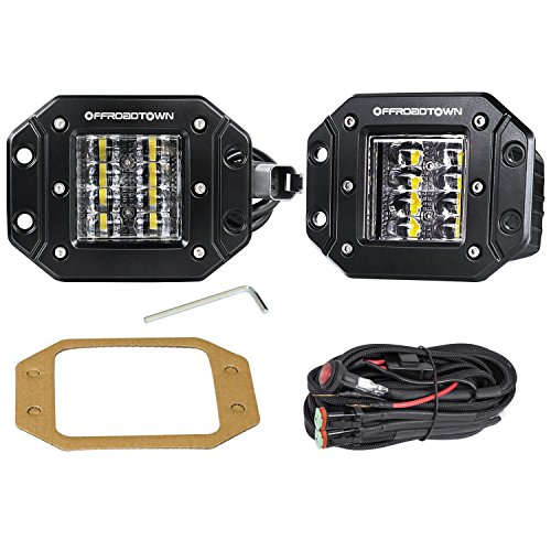 LED Work Light Flush Mount,OFFROADTOWN 2 Pcs 12V 48W Flush Cube LED Work Light Bar for Truck Off-Road SUV Boat 4x4 Jeep Grill Mount