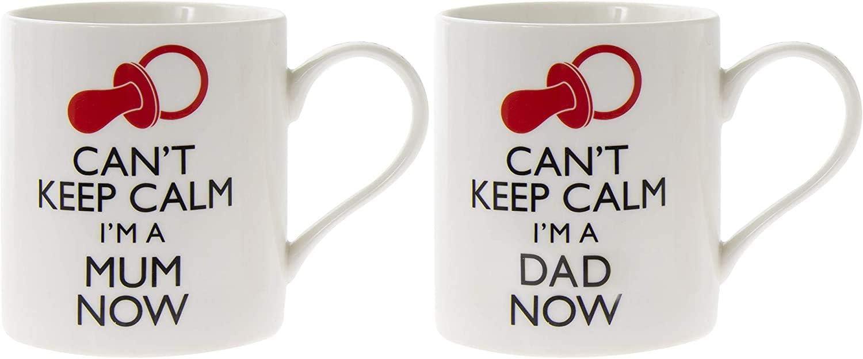 Juego de 2 tazas para papá y mamá primerizos, lema «Can't Keep Calm»