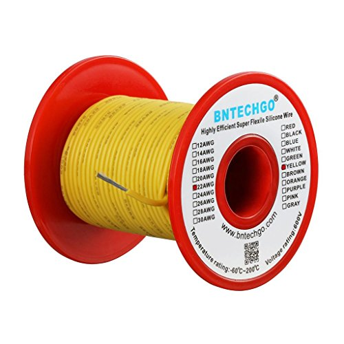 BNTECHGO 22 Gauge Silicone Wire Spool Yellow 100 feet Ultra Flexible High Temp 200 deg C 600V 22AWG Silicone Rubber Wire 60 Strands of Tinned Copper Wire Stranded Wire for Model Low Impedance
