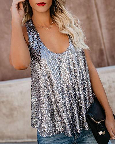 f415ef47 Canrulo Women Sleeveless Tops Shimmer Sequin Embellished Sparkle Tank Tops  Loose Fit Vest