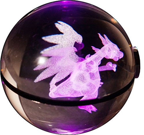 Clear K9 Crystal 3D Pokemon Go Inspired Inside Engraved Lasermarked Glowing Pokeball with LED Rotary Lamp Base Toy Light Lamp (Charizard)