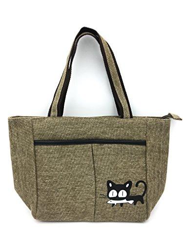lona dibujo de Bolso de con ShopINess Verde Marrón gato wqzCEaqU