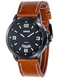 INWET Large Quartz Watch for Men,Black Dial with Date Calendar,Brown Leather Strap