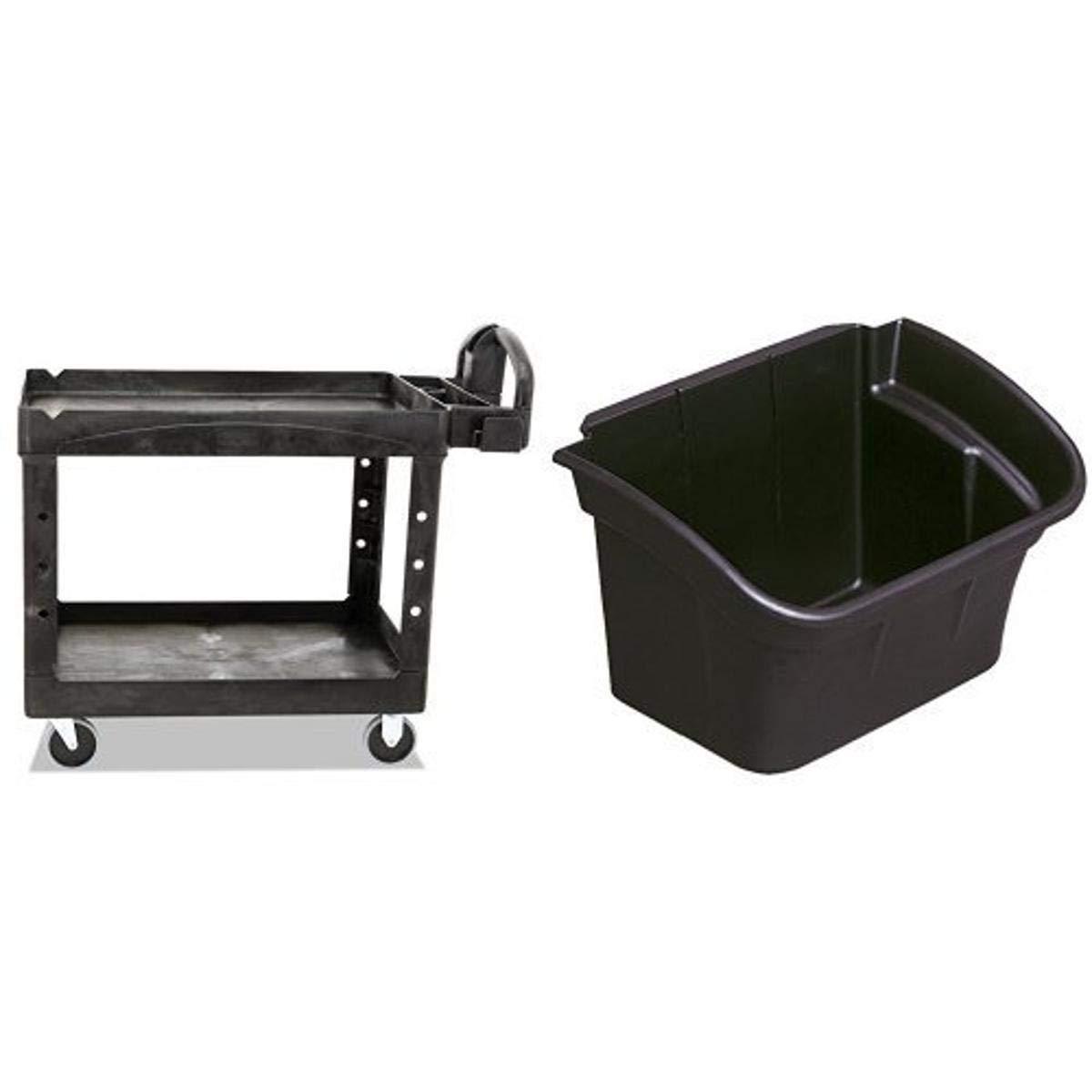 Rubbermaid Commercial Heavy-Duty 2 Shelf Utility Cart, Lipped Shelves, Medium with Commercial Utility Bin, 4gal, Black (RCP335488BLA)