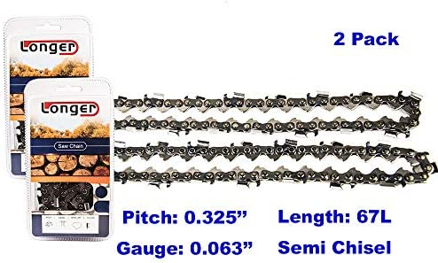 16 Inch Chainsaw 0.325 Pitch 0.063`` Gauge Semi Chisel Sawchain 67 Drive Links (2 PACK)