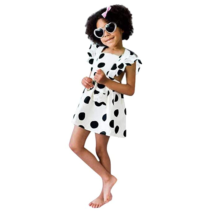 d43f6ee2d K-Youth Vestido Lunares Niñas Casual Vestidos de Niña Sin Respaldo Ropa  Bebe Recién Nacido