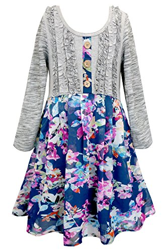 Girls Long Sleeve Floral Dress - 5