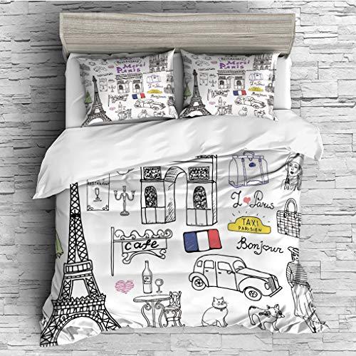 - 3 Pieces (1 Duvet Cover 2 Pillow Shams)/All Seasons/Home Comforter Bedding Sets Duvet Cover Sets for Adult Kids/Queen/Doodle,Paris Culture in Doodle Style Drawing Eiffel Tower Beret Croissant Blue Che