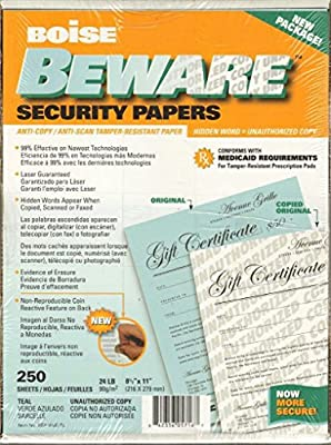 Boise Beware Security Papers 250 sheets Anti-Copy/Anti-Scan/Tamper Resistant 24 LB. Paper