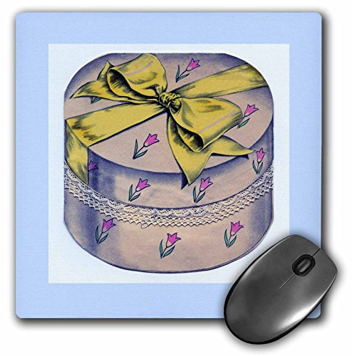 3dRose LLC 8 x 8 x 0.25 Inches Mouse Pad, Pink/Violet Hatbox with Yellow Ribbon (mp_35415_1) (Yellow Ribbon Mouse Pad)