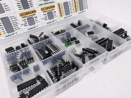 LM339 LM393 LM324 UC3843AN LM386 ULN2003AN and Sockets ULN2803APG UC3842AN LM358 TDA2030A TDA2822 JRC4558D NE555 TOCYORIC Assortment Box 75 pcs PC817c NE5532 PT2399
