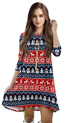 Ugly Christmas Aztec Printed Casual Knee-length Lose Fit Tunic Dress for Women Christmas Costumes