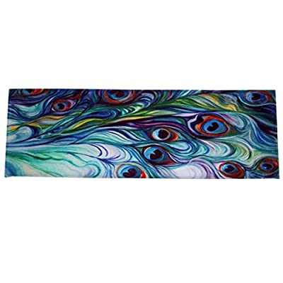 Makaor Floor Non Slip Mat Dining Room Carpet Shaggy Soft Area Rug Bedroom Rectangle Peacock Printing 40120CM Indoor/Outdoor