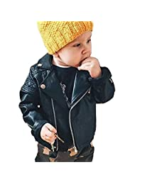 Toddler Girl's Hot PU Faux Leather Moto Jacket Autumn Spring Black/Rose-red Aged 1-6