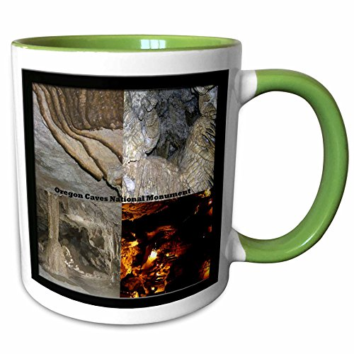 3dRose Sandy Mertens Oregon - Formations and Ghost Room Montage - Oregon Caves National Monument - 15oz Two-Tone Green Mug - National Monument Oregon Caves