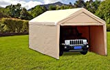 SORARA Carport 10' x 20' Heavy Duty Outdoor Car Canopy Garage Storage Shelter with Detachable Sidewalls, Beige