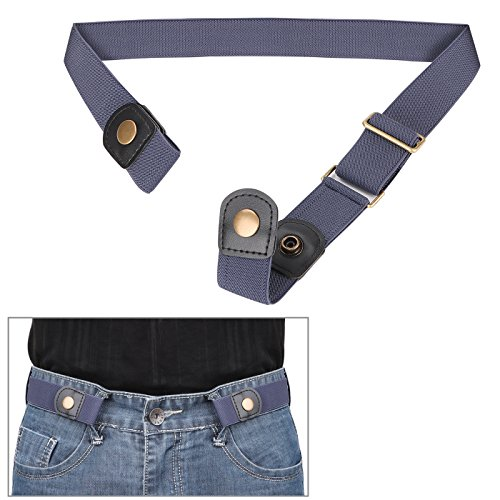 No Buckle Invisible Elastic Belt for Men/Women Blue, Fits waist 36-50in