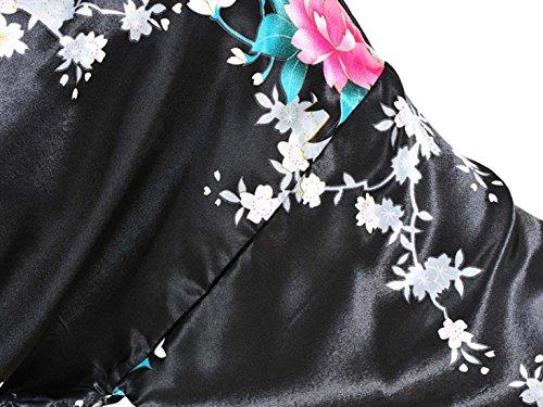 Feoya Peignoir Femme Satin Pyjamas robe Court Kimono - Noir