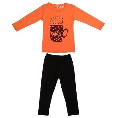 a1c554f1260 Generic Stylish Kids Girls Orange T-shirt Tops and Black Pants 2Pcs  Outfits  Amazon.co.uk  Clothing