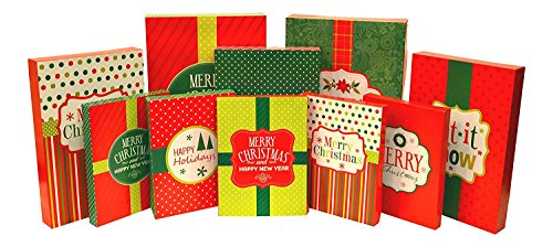 Christmas Holiday Multi Color Festive Gift Wrapping Shirt, Robe, & Lingerie Boxes Set, Red, Green, Beige, 10 Count