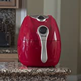 DELLA 048-GM-48207 1500W Electric Air Fryer with Temperature Control, Detachable Basket Handle, Red, Small