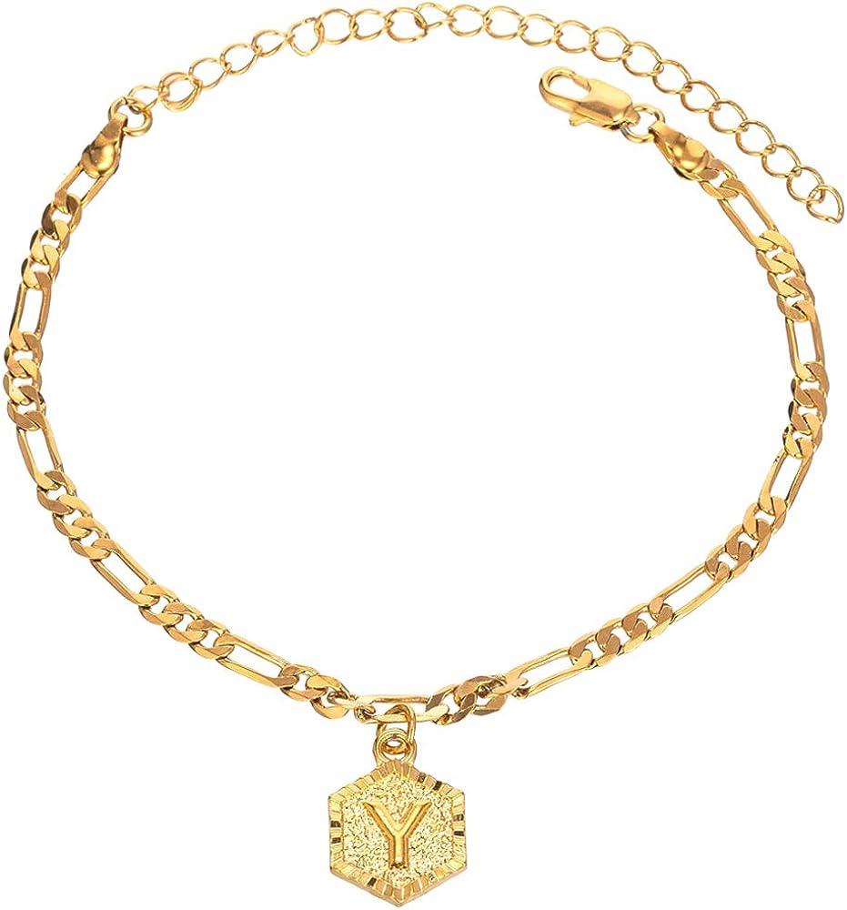 KELISTOM Initial Charm 5mm Wide Figaro Chain 18K Gold Plated Bracelet for Women Men Teen Girls Boys 26 Letters Alphabets Friendship Bracelets with Extension