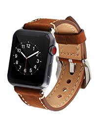 Apple Watch Band, 42mm iWatch Band Strap Premium Vintage Genuine Leather Replacement Watchband with Secure Metal Clasp Buckle for Apple Watch Sport Edition (Dark Brown)