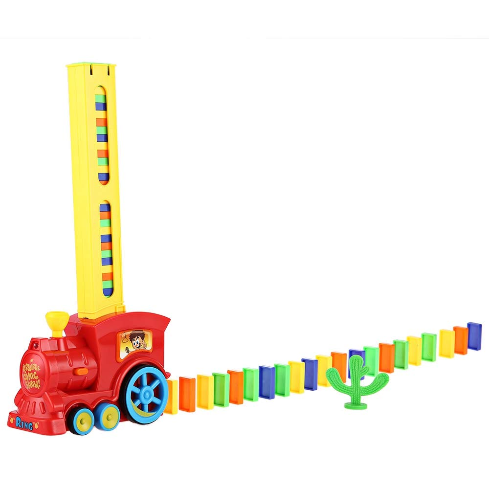 BISOZER Domino Train, Lay and Play Domino Train Toy Set Domino Game Toys 60pcs for Kids Automatic Put Out Dominoes Train