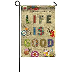 "Evergreen Life is Good Double-Sided Burlap Garden Flag - 12.5""W x 18""H"