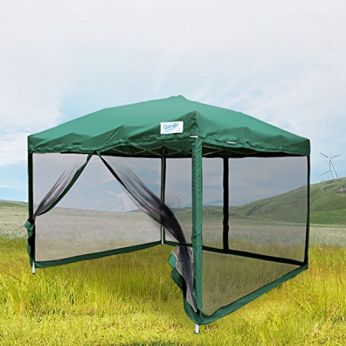 Quictent Ez Pop up Canopy Gazebo Mesh Side Wall Screen House With Carry BAG (Green, 8 Feet x 8 Feet)