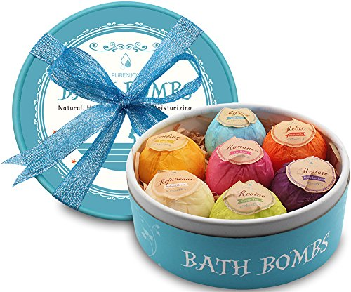 Bath Bombs, Valentine's Day Birthday Anniversary Gifts for Wife, Girlfriend, Her - 7 Large Natural Organic Relaxation Moisturizing SPA Fizzies With added Detox Ability by PURENJOY