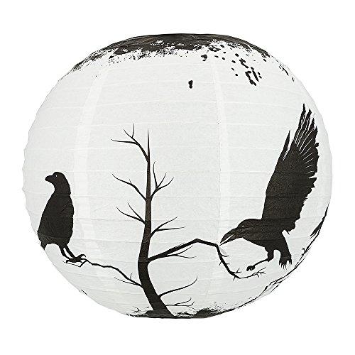 Quasimoon PaperLanternStore.com 14 Inch Halloween Crows Scary Black Birds Paper Lantern, Hanging Decoration]()