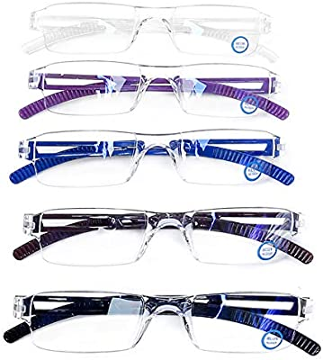 12d3fb283ff AQWANO 5 Pack Quality Rectangular Readers Portable Rimless Reading Glasses  for Women and Men UV Protection and Blue Light Blocking Reading Glasses 5  Color + ...