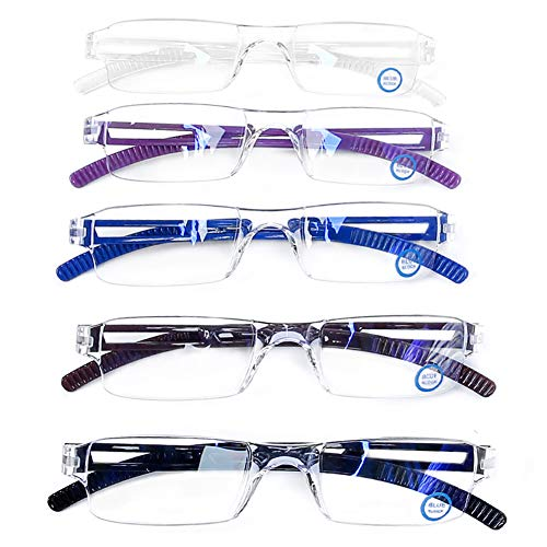 AQWANO 5 Pack Quality Rectangular Readers Portable Rimless Reading Glasses for Women and Men UV Protection and Blue Light Blocking Reading Glasses 5 Color +1.5