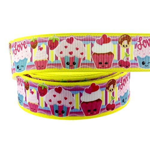 Midi Ribbon 10 Yards 7/8 Inch Cupcake Print Grosgrain Ribbon for Hair Bow Hair Clip Accessories Collar DIY Supplies Material