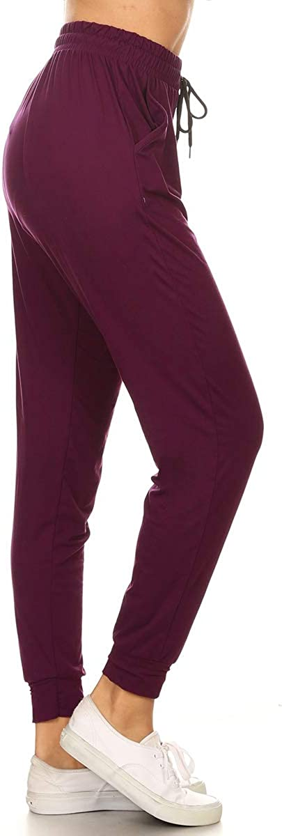 Leggings Depot Women's Printed Solid Activewear Jogger Track Cuff Sweatpants at  Women's Clothing store