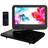 COOAU 12.5'' Portable DVD Player with 10.5'' Swivel Screen, 5 Hours Rechargeable Battery, Support USB and SD Card Direct Play, Memory Playing, Loop Playing, Region Free, Black