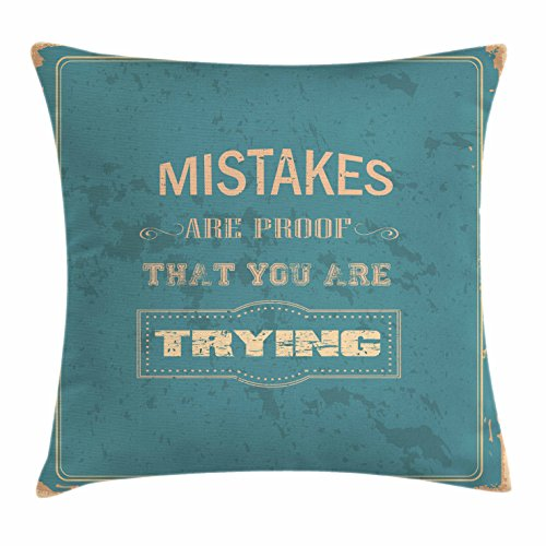 Ambesonne Motivational Throw Pillow Cushion Cover, Vintage Poster Design with Inspirational Wise Quote and Distressed Look, Decorative Square Accent Pillow Case, 16 X 16 Inches, Sand Brown Teal - Inspirational Bench