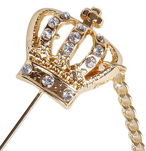 Flairs New York Gentleman's Essentials Premium Handmade Artisan Lapel Pins (Golden Crown with Chain)