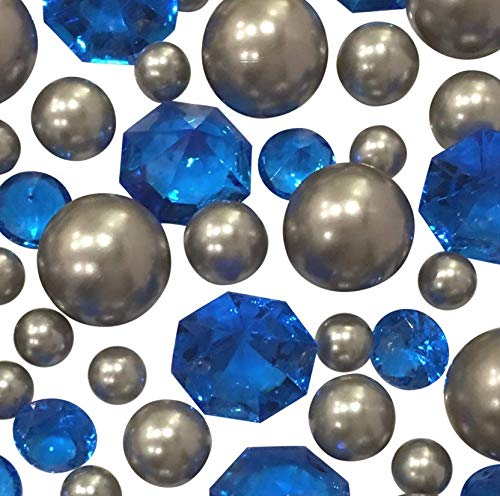 (120 No Hole Silver Pearls & Royal Blue Gems - Jumbo/Assorted Sizes Vase Decorations & Table Scatters - to Float The Pearls Order The Floating Pack Option )