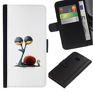 iBinBang / Flip Funda de Cuero Case Cover - Dibujo minimalista Stoned - HTC One M8