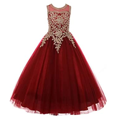 35cd7a03 Amazon.com: Formal Little Girls Long Pageant Dresses Prom Ball Gown Gold  Lace Burgundy Tulle: Clothing
