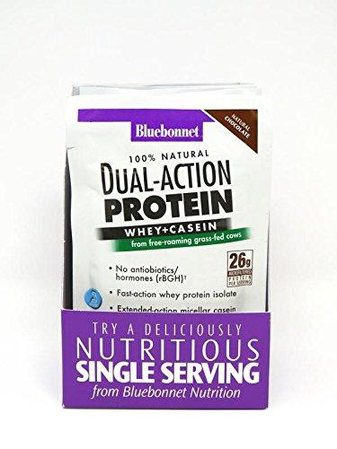 Bluebonnet Nutrition Dual Action Protein Powder, Chocolate Flavor, 26 g (8 Count)