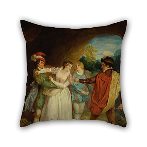 Loveloveu 16 X 16 Inches / 40 By 40 Cm Oil Painting Francis Wheatley - Valentine Rescuing Silvia From Proteus, From Shakespeare's 'The Two Gentlemen Of Verona,' Act V, Sce Pillow Covers ,increase Side