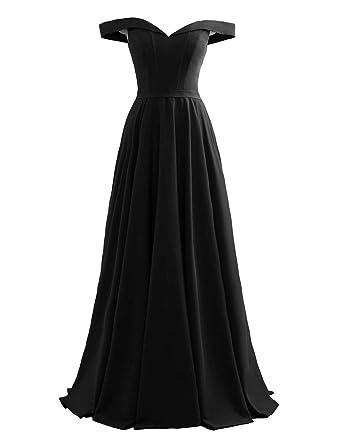 7e8aff7ea Changuan Off Shoulder Prom Evening Dress for Women A-Line Satin Formal Gown  Black-
