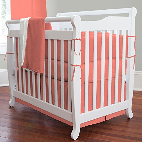 Portable Crib Skirt Box - Carousel Designs Solid Coral Mini Crib Skirt Box Pleat
