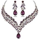 EVER FAITH Women's Austrian Crystal Decorative Leaf Teardrop Necklace Earrings Set Purple Silver-Tone